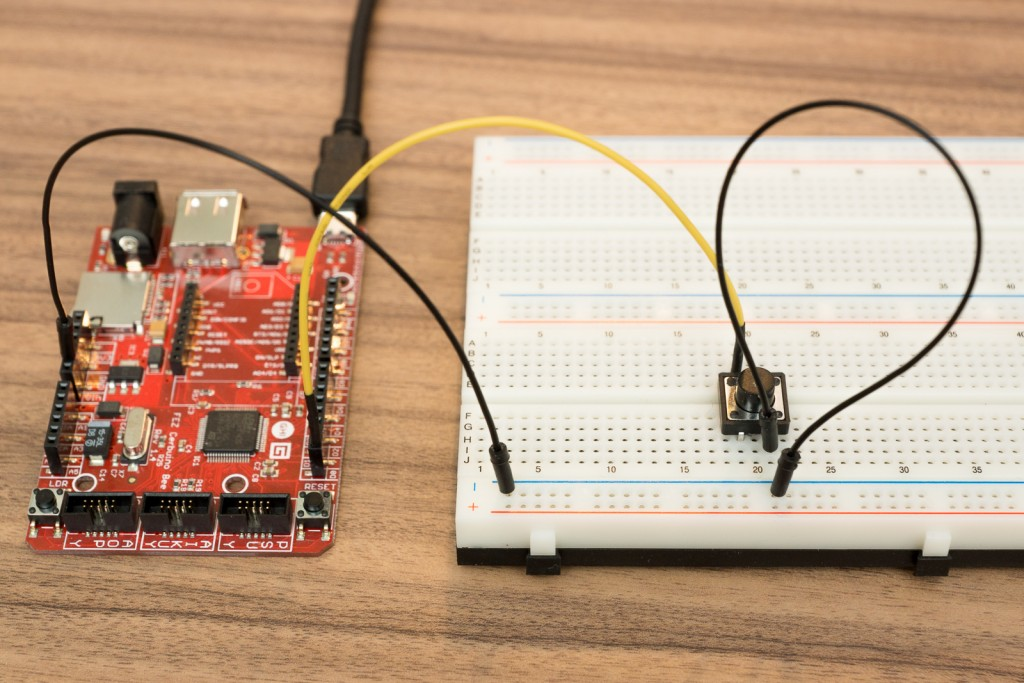 Schalter über PullUp-Widerstand an .Net-Microcontroller anschließen - Aufbau