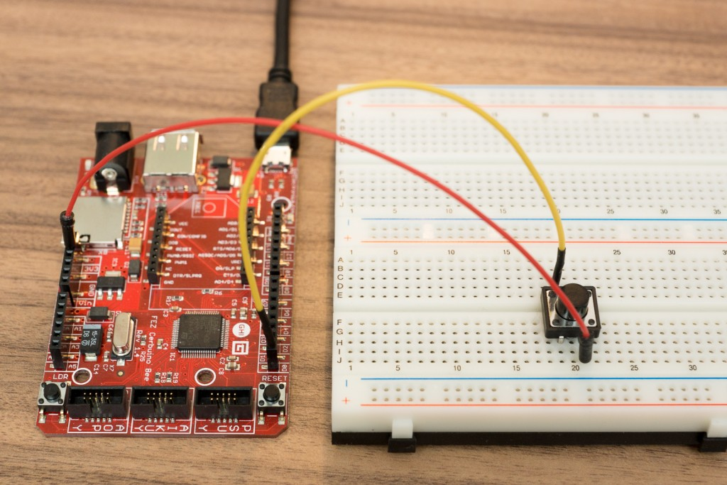 Schalter über PullDown-Widerstand an .Net-Microcontroller anschließen - Aufbau