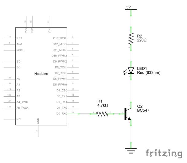 Schaltplan Output Pin an LED