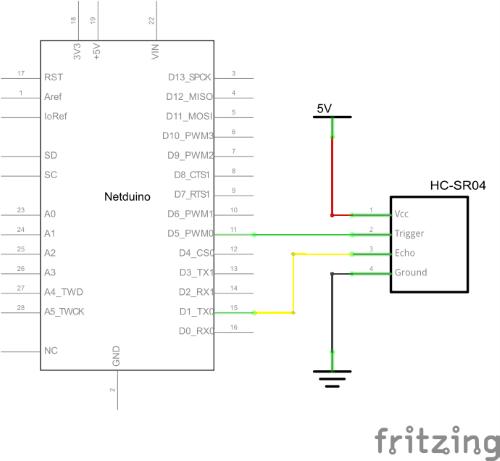 HC-SR04 Entfernungsmesser Schaltplan
