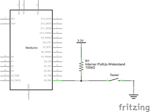 Schaltplan Schalter über PullUp an InputPort