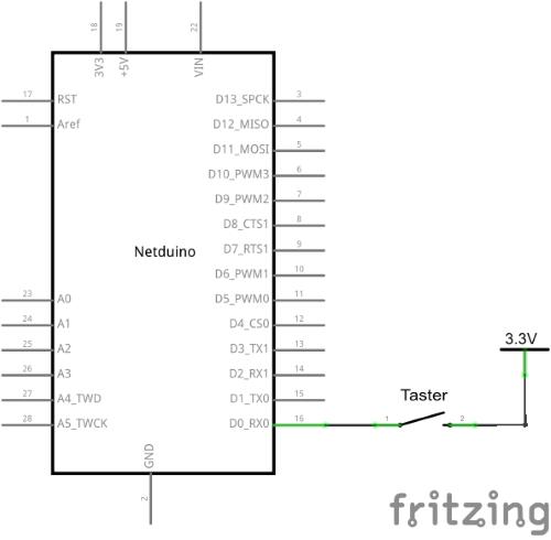 Schaltplan Taster über PullDown an InterruptPort